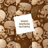 Skull seamless pattern vector dead head crossbones human tattoo illustration thick-skulled set of horror symbol of death. Evil on halloween background wallpaper stock illustration