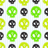 Skull seamless pattern. Vector halloween background. Green skulls wrapping paper Stock Images