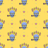 Skull seamless pattern Vector Icons: skull, rose, fire, heart. Skull seamless pattern. Colorful skull in a trendy thin line art style on a yellow background Royalty Free Stock Photo