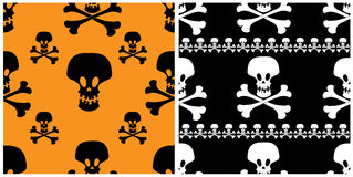 Skull seamless patterns. Two skull seamless patterns. Halloween backgrounds Stock Photo