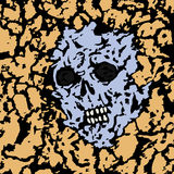 The skull is seen from under the ground. Vector illustration. Stock Photo