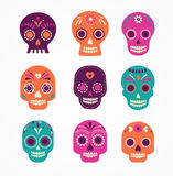Skull set, Mexican day of the dead Stock Images