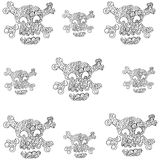 Skull set ornament in doodle halloween Royalty Free Stock Image