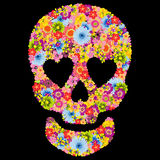 Skull shaped flowers on black background Royalty Free Stock Images