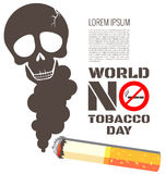 Skull shaped smoke with cigarette. For World No Tobacco Day Royalty Free Stock Photo