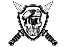 Skull in shield and daggers. Vector illustration crossed daggers, board and skull in beret Stock Photos