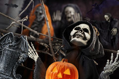 Skull and skeleton for the dark night of Halloween Royalty Free Stock Image