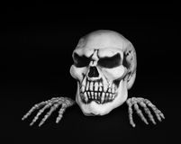 Skull with Skeleton Hands Royalty Free Stock Photography