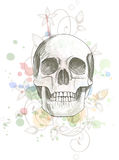 Skull Sketch & Floral Calligraphy Ornament Royalty Free Stock Images
