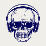 Skull sketch with headphones Stock Images