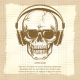 Skull sketch with headphones vintage style Royalty Free Stock Photography