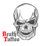 Skull sketch with spooky smile. Dark gray human skull sketch with spooky smile and caption Death Tattoo in gothic style. Tattoo or t-shirt print design usage Stock Images