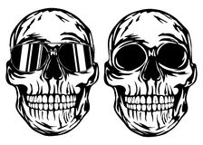Skull and skull in sunglasses Stock Photography