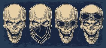 Skull smiling with bandana and glasses for motorcycle. Stock Photos