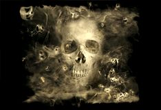 Skull With Smoke Demons. Skull in a cloud of smoke surrounded by small ghostly demons Stock Photo