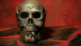 Skull smoke hd footage. Studio light stock video