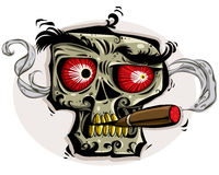 Skull smoking cigar. Skull with angry look, red eyes, yellow teeth and cigar. Vector  illustration Royalty Free Stock Images