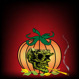 Skull smoking from a pumpkin royalty free stock photography