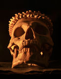 Skull. Skull and snake backbone on old and dirty black leather under candlelight Stock Image