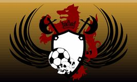Skull Soccer wolf crest coat of arms background. Heraldic soccer wolf crest coat of arms background in vector format very easy to edit Royalty Free Stock Images