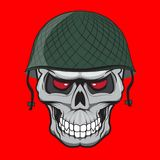 Skull soldier illustration isolated. doodle style Royalty Free Stock Image
