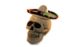 Skull with a sombrero. Skull with eye sockets and teeth wearing a sombrero Royalty Free Stock Images