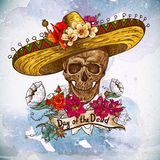 Skull in sombrero with flowers Day of The Dead Stock Image