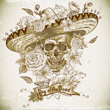 Skull in sombrero with flowers Day of The Dead Royalty Free Stock Image