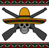 Skull with sombrero and guns Stock Photography