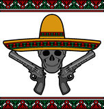 Skull with sombrero and pistols Stock Photos