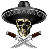 Skull in sombrero with two knives on a blank background Stock Image