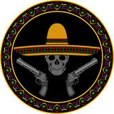 Skull with sombrero and two pistols Royalty Free Stock Photography
