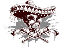 Skull with sombrero and two revolvers Royalty Free Stock Images