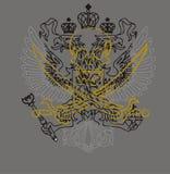 Skull soul. Skull, sword, eagle-shaped t-shirt graphic design stock illustration