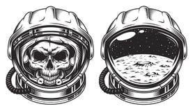 Skull in space helmet. With star. Poster, emblem concept stock illustration