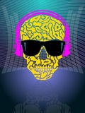 Skull in spectacles and earphones Stock Photography