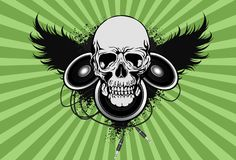 Skull with spekaer and wing Royalty Free Stock Photos