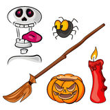 Skull, spider, besom, candle and pumpkin Royalty Free Stock Photography