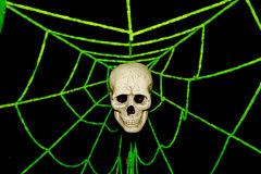 Skull and spider webs, Ghost on halloween Royalty Free Stock Photo