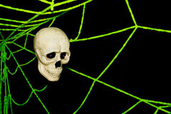 Skull and spider webs  on wall, Ghost on halloween Stock Photos