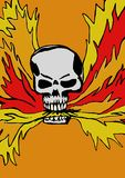 Skull spits fire Stock Photo