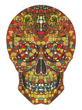 Skull stained glass. Art design skull head action smiley face hand color painting on paper Royalty Free Stock Photos