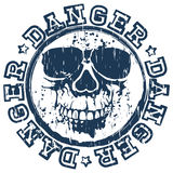 Skull stamp danger. Vector illustration blue dirty round stamp with lettering danger and grunge skull Royalty Free Stock Image