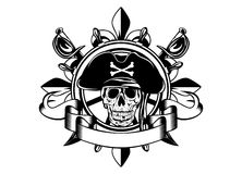 Skull and steering wheel. The vector image of piracy skull and steering wheel Stock Image