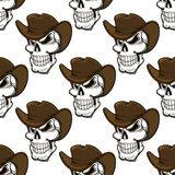 Skull in a stetson seamless pattern Royalty Free Stock Photos