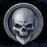 Skull in stone. Textured circle border on dark background. Tattoo style. EPS 8 illustration stock illustration
