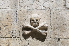 Skull on a stone wall Stock Image