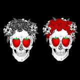 Skull with strawberries and flowers Royalty Free Stock Images