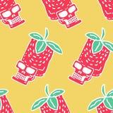 Skull strawberry pattern. Head of skeleton red berry texture.  stock illustration