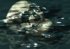 Skull Submerged. Halloween skull and chain under water Stock Photos